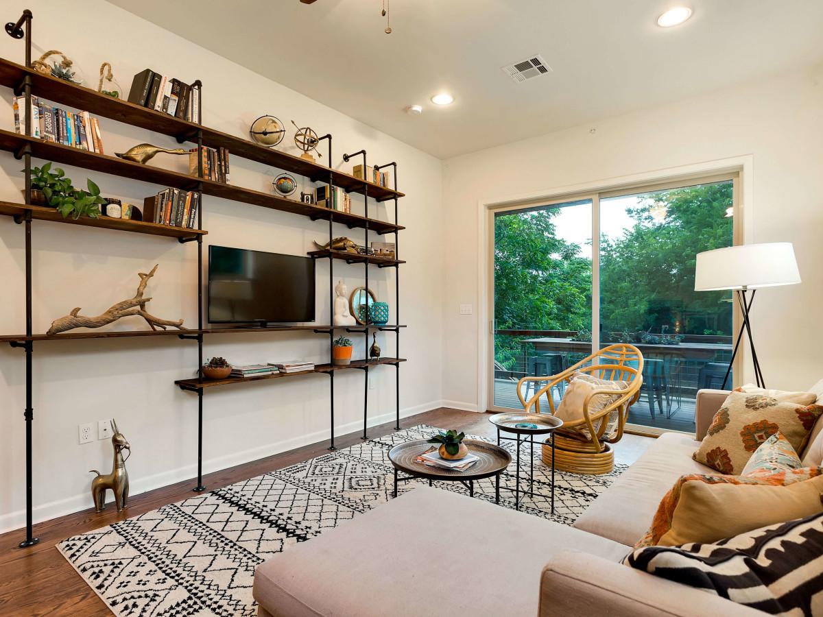 East Austin house home 1131 Poquito Street 78702 living room