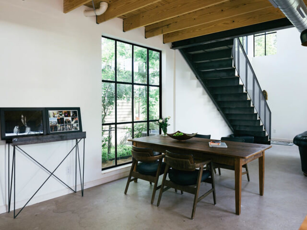 Austin home house Houzz DIY modern Texas farmhouse Garden St dining room table staircase