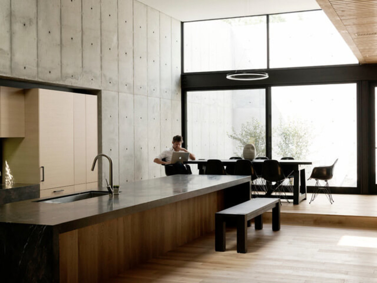 Houzz Houston house home Japanese-style concrete box kitchen dining room