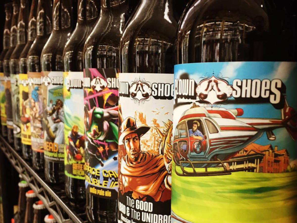 Bottled craft beer on a shelf