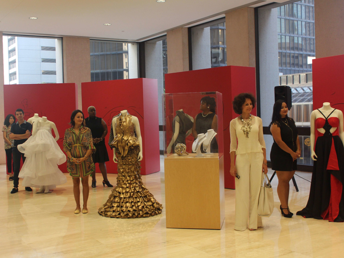 Houston Community College students and designs at Arts Brookfield exhibit