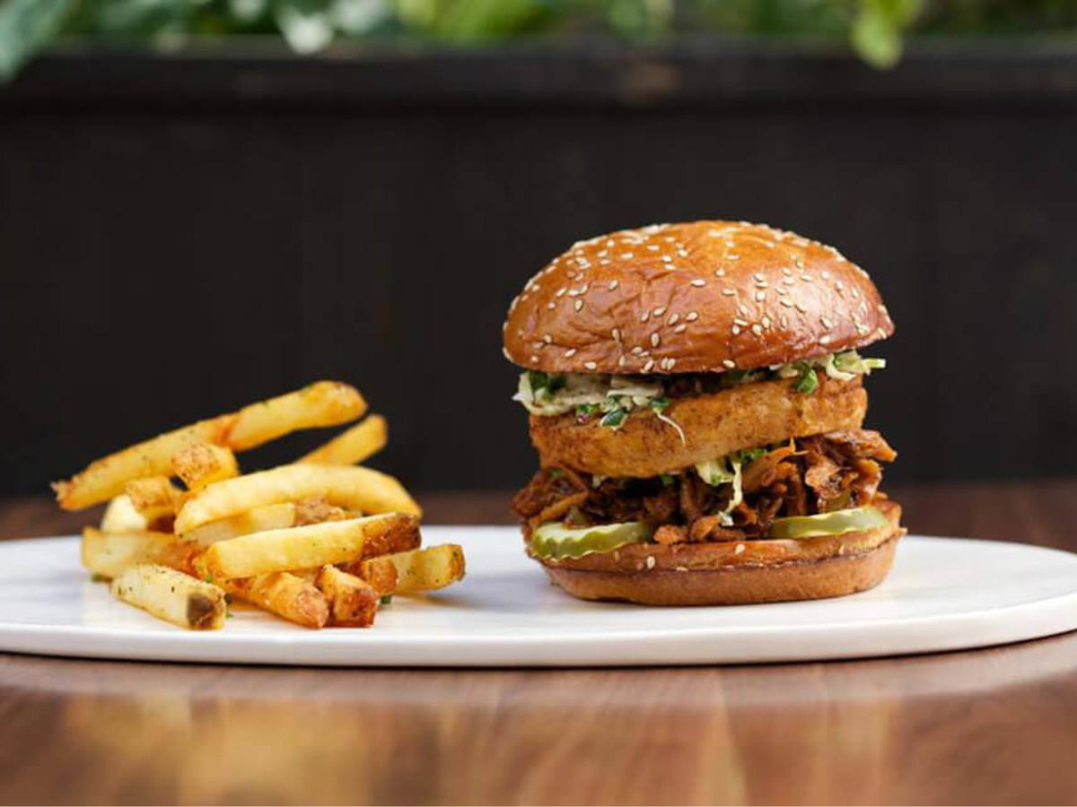 Burger and fries at Doc B's