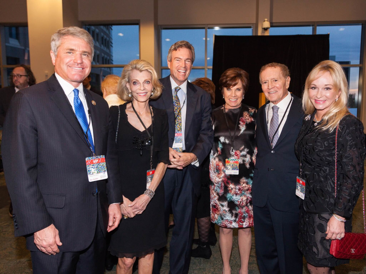 Mike McCaul, Alice Burguieres, Jim Hackett, Maureen Hackett, Mel Klein, Linda Mays McCaul at MD Anderson 75th anniversary gala