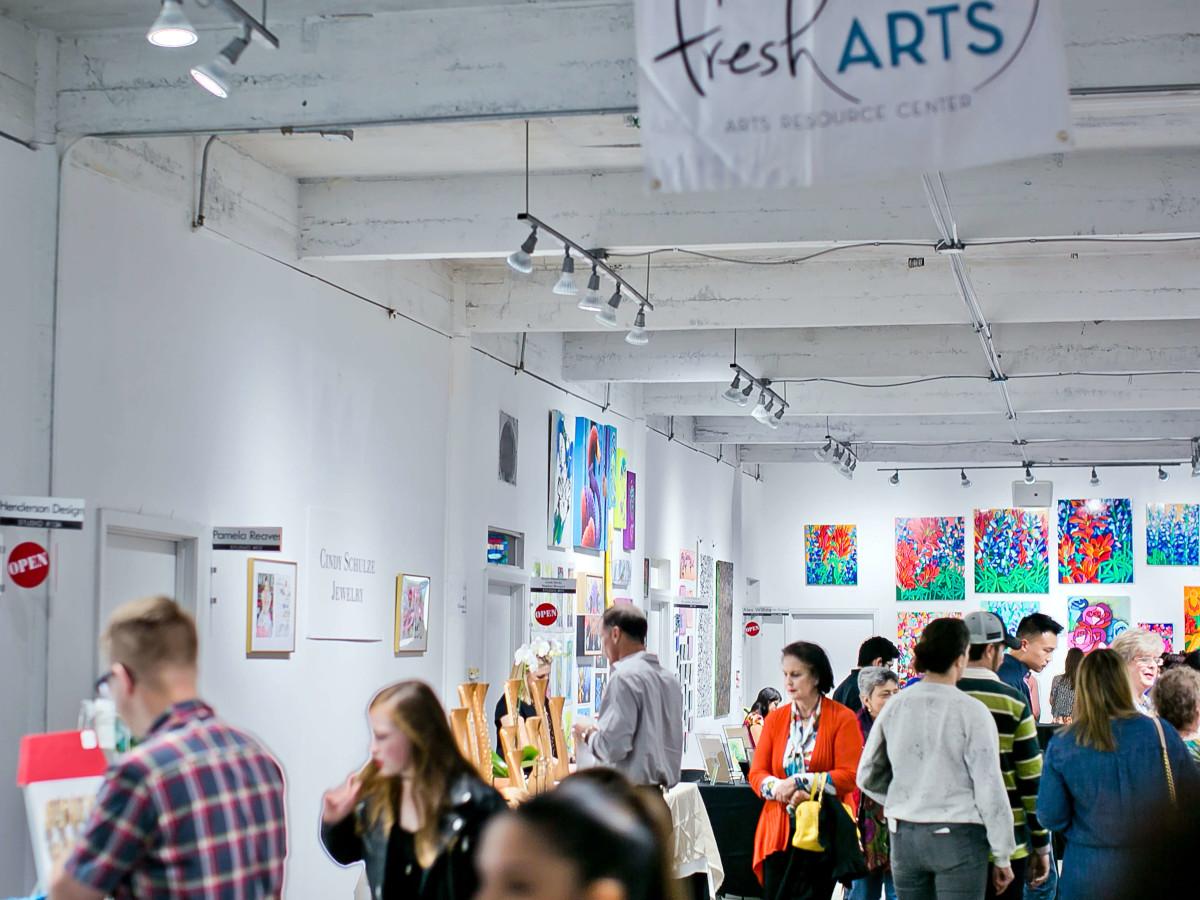 Houston, Fresh Arts Winter Holiday Art Market, Nov 2016, guests mingle