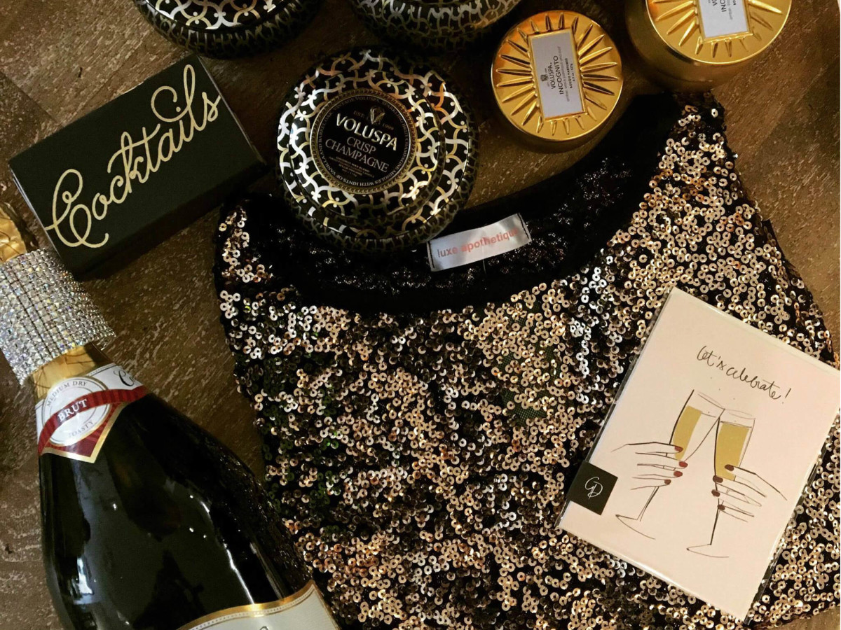 Luxe Apothetique merchandise and champagne