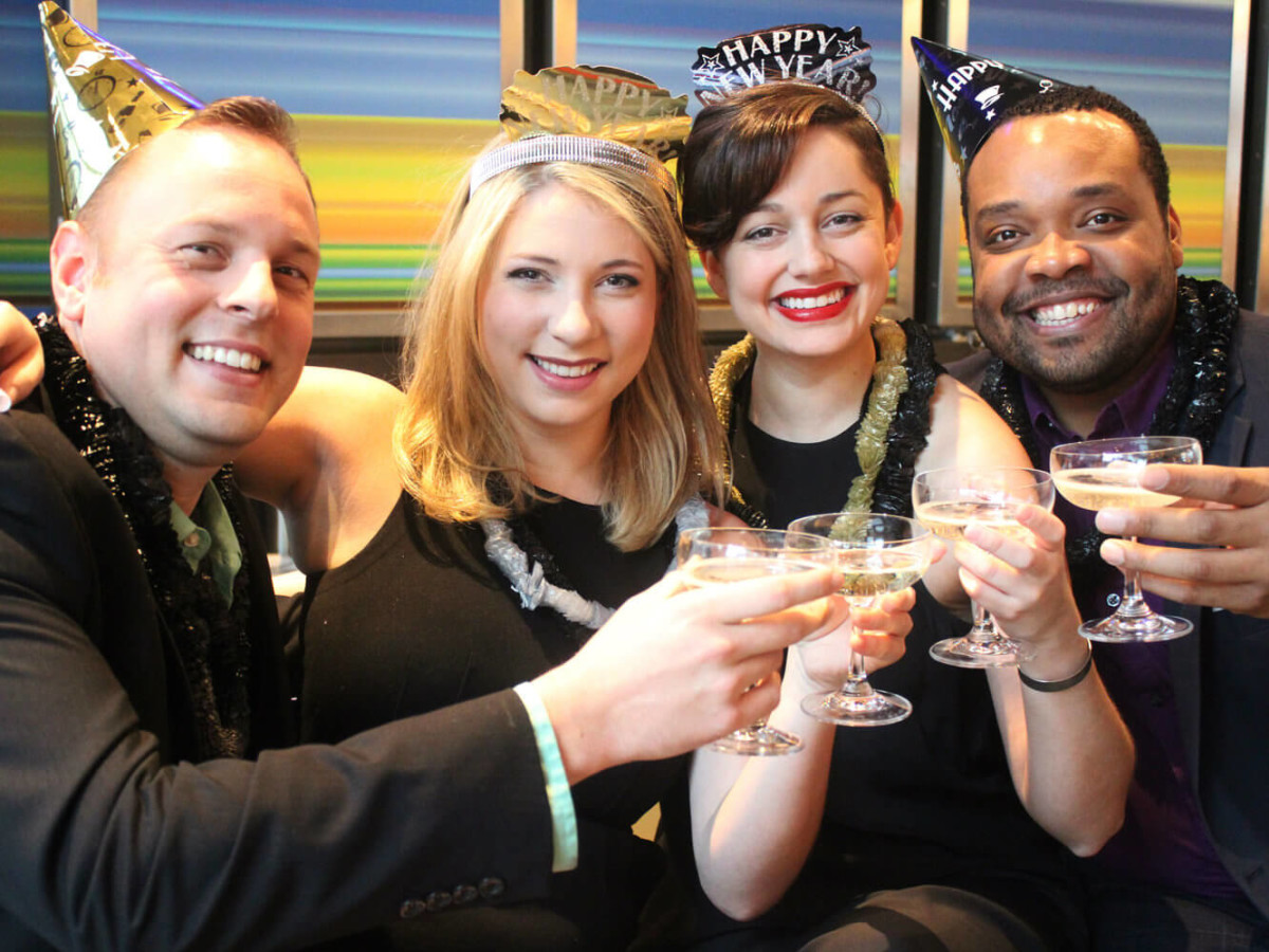 """Calvin Scott Roberts, Allison Bret, Janelle Lutz, Trey West in """"I Love You, You're Perfect, Now Change"""" at Theatre Three"""
