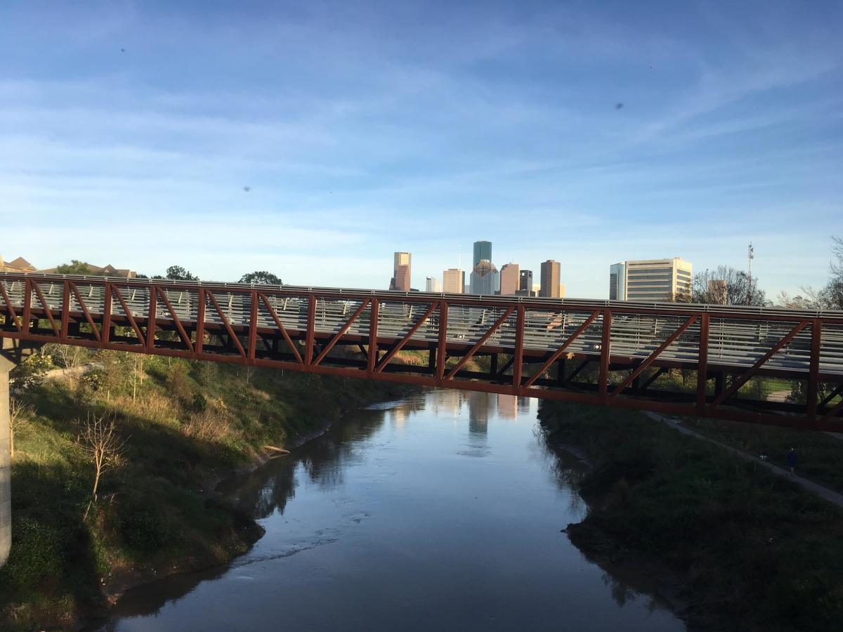 Pedestrian bridge at Buffalo Bayou Park