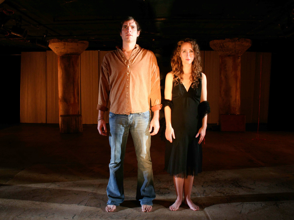 Jonathan Brooks and Anastasia Munoz in Eurydice at Undermain Theatre