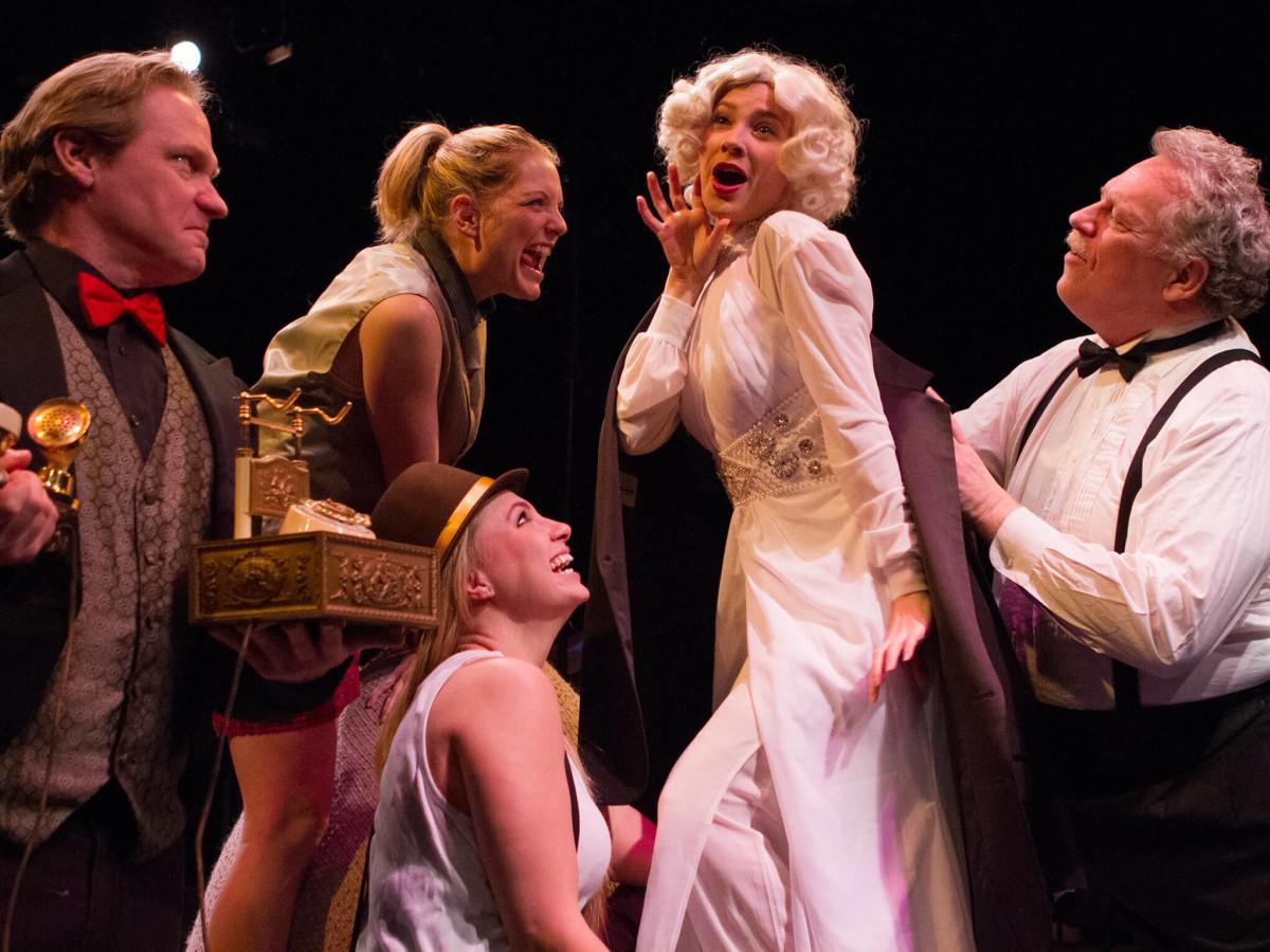 Ashley Wood, Steph Garrett, Ashlee Elizabeth Bashore, Debbie Crawford, and Bradley Campbell in Laugh at Theatre Three