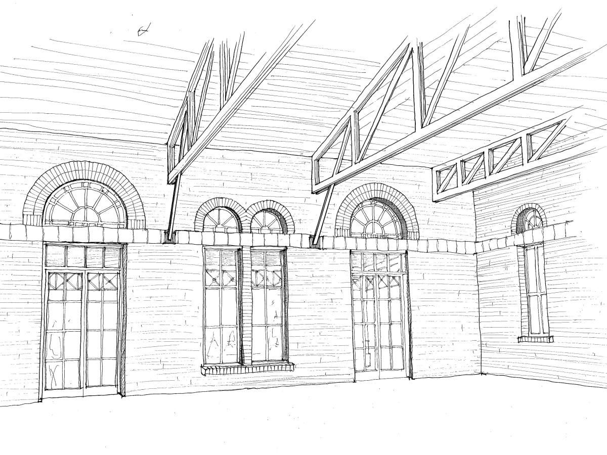 Pearl Brewery food hall interior rendering