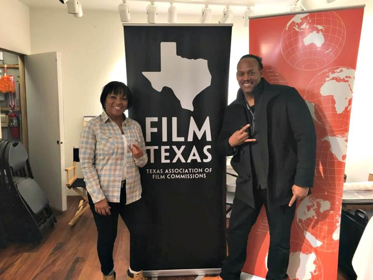 "Producer Dominque Telson who is adapting his Houston filmed debut feature film ""Fifth Ward"" (1998) into a TV series with LA-based Houstonian writer/director Greg Carter at the Texas Film Commission Reception at the Sundance Film Festival"