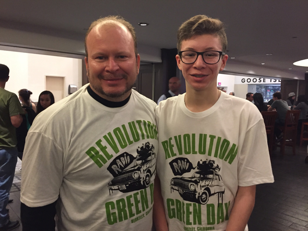 Green Day fans Corwin Moczygemba and his son, Ian