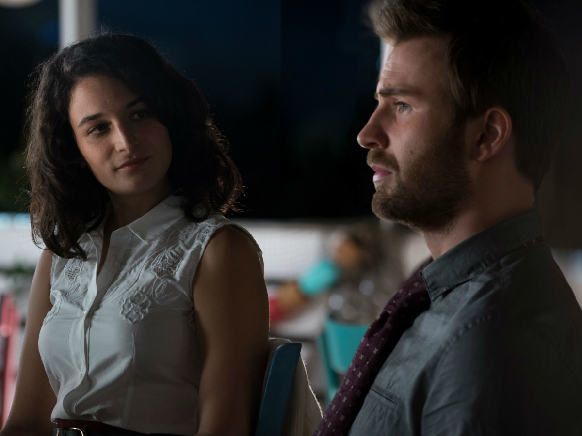 Jenny Slate and Chris Evans in Gifted