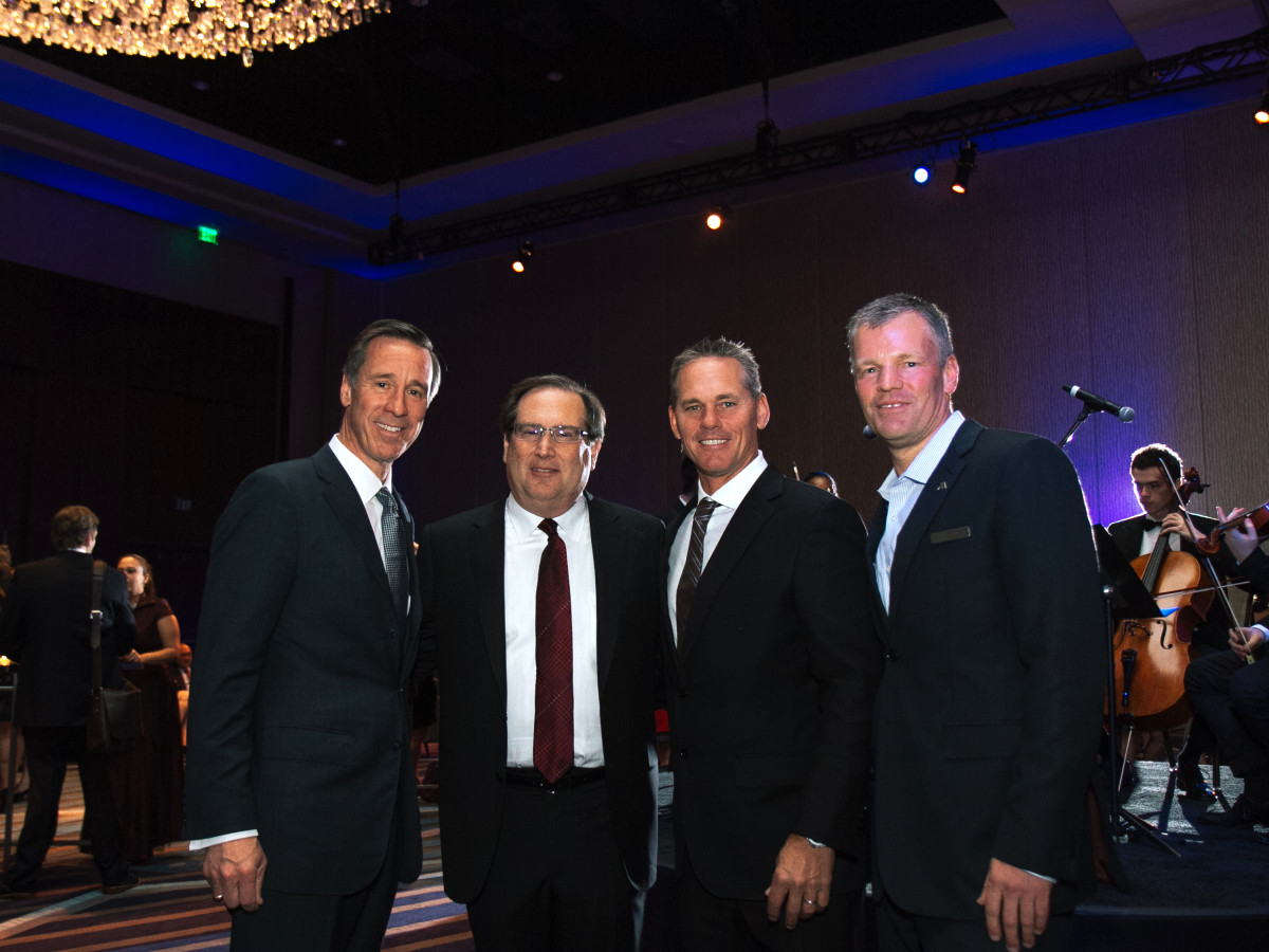 Houston, Marriott Marquis grand opening party, April 2017, Arne Sorenson, Ira Mitzner, Craig Biggio, Scott Cotton