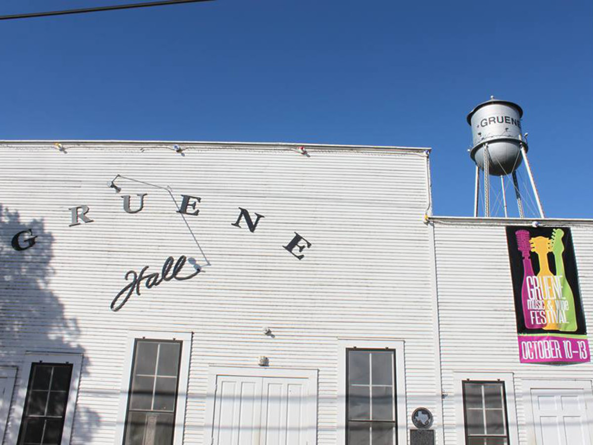 Gruene Hall with banner for wine and music festival