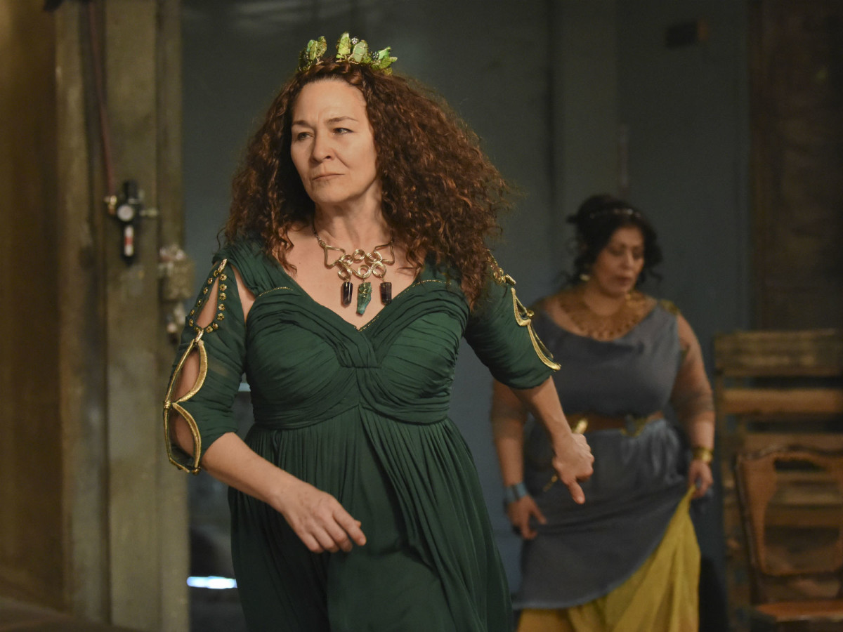 Sally Nystuen Vahle and Christie Vela in Dallas Theater Center's Medea