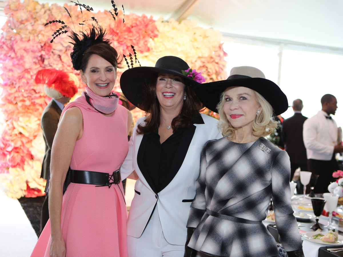 Laurie Morian, from left, Cherie Flores and Lynn Wyatt at Hats in the Park March 2014