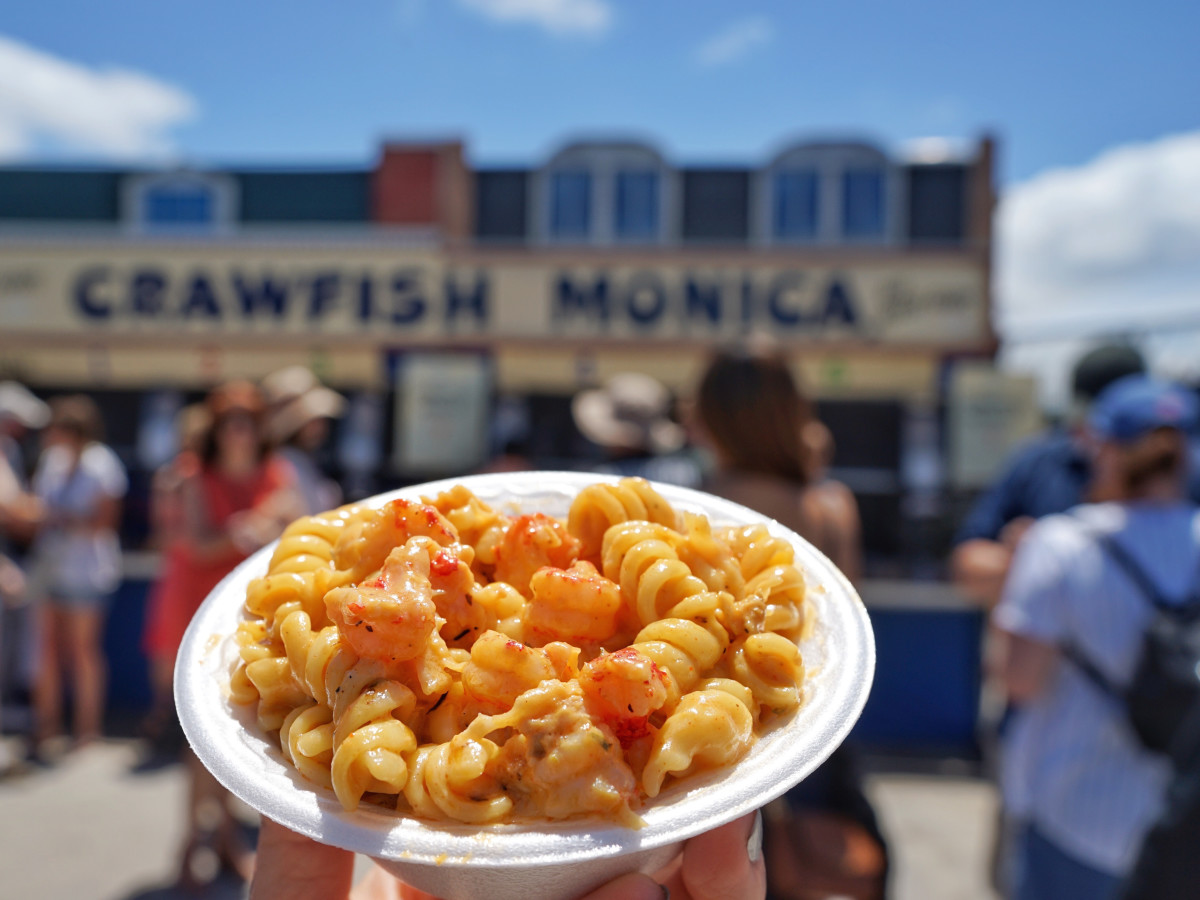 Jazz Fest in New Orleans crawfish mac and cheese
