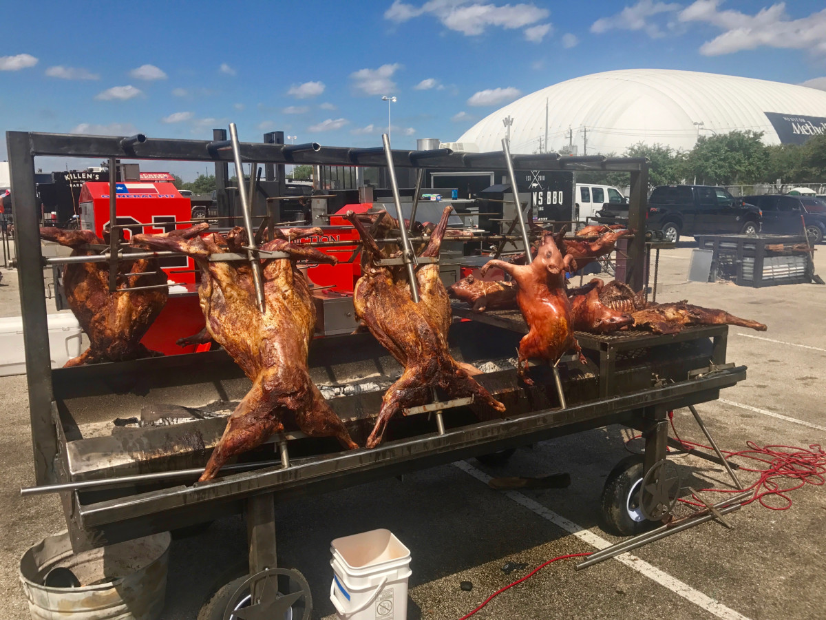 Houston Barbecue Festival pit room cabrito