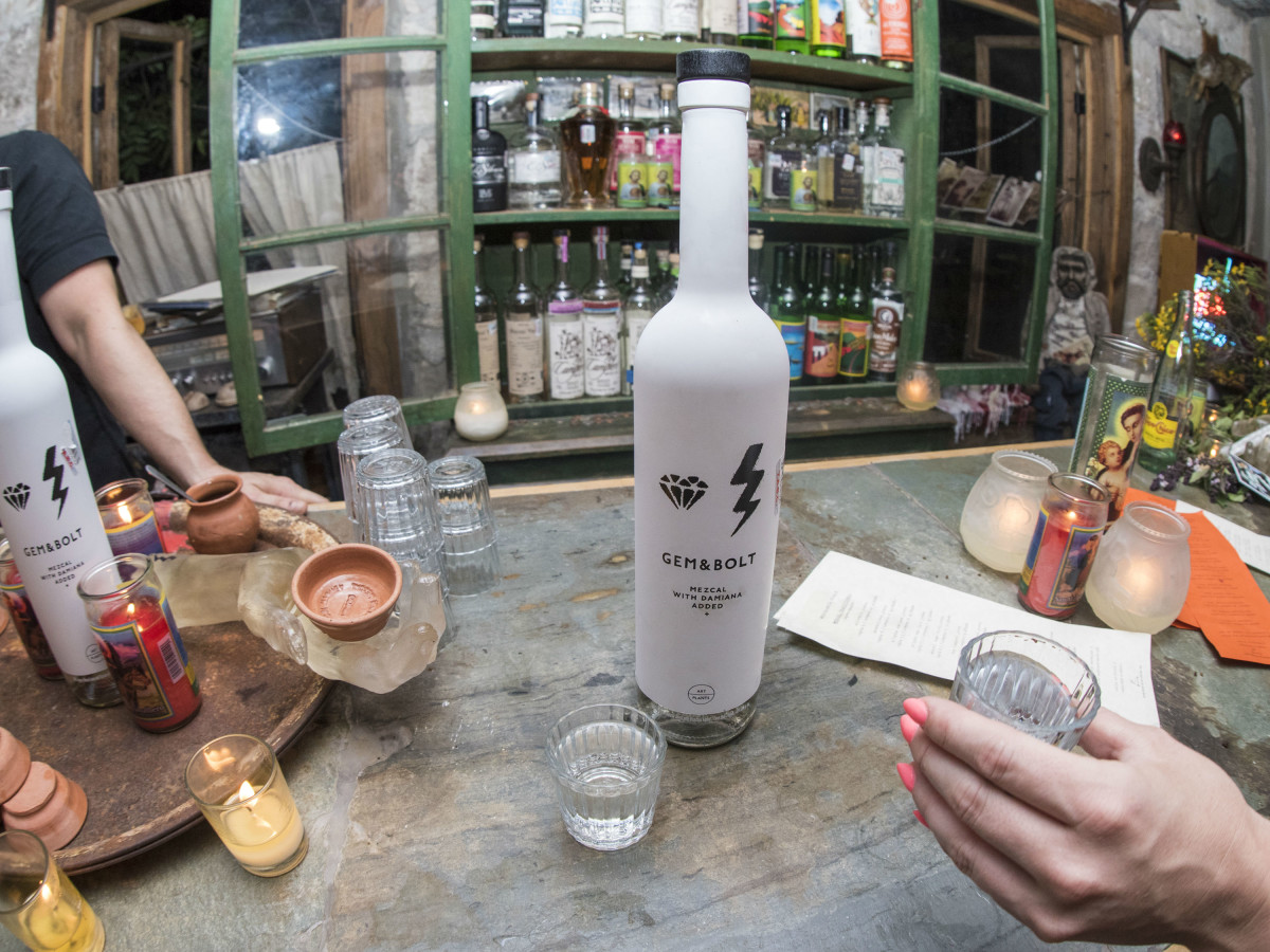 Gem and Bolt mezcal launch party Whisler's Mexcaleria Tobala June 2016 bar bottle