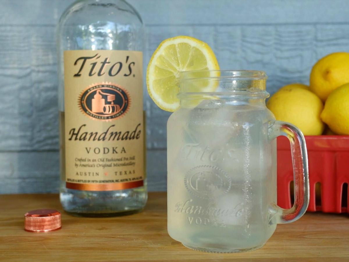 Tito's Handmade vodka lemon drink cocktail
