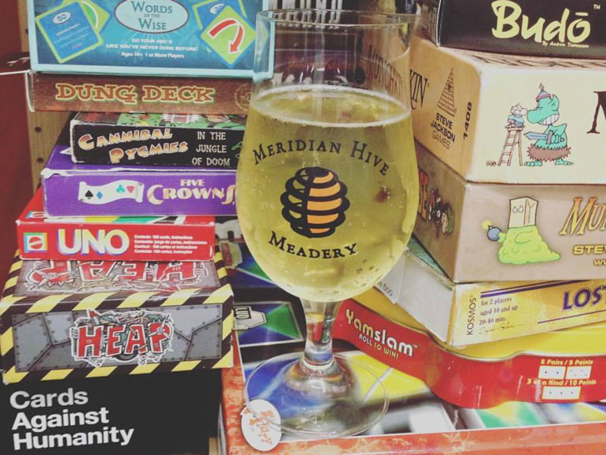 Meridian Hive Meadery tasting room board games cards Austin