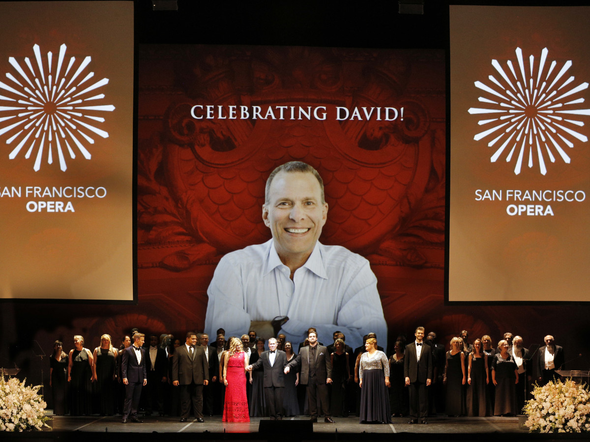 David Gockley Event, San Francisco Opera, June 2016, baritone Edward Nelson, tenor Pene Pati, soprano Julie Adams, General Director David Gockley, tenor Brian Jagde, mezzo-soprano Catherine Cook, bass Anthony Reed, San Francisco Opera Chorus