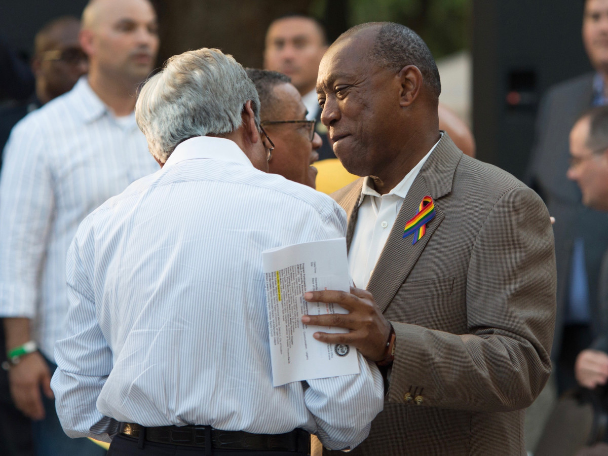 Sylvester Turner at vigil for Orlando victims at Houston City Hall