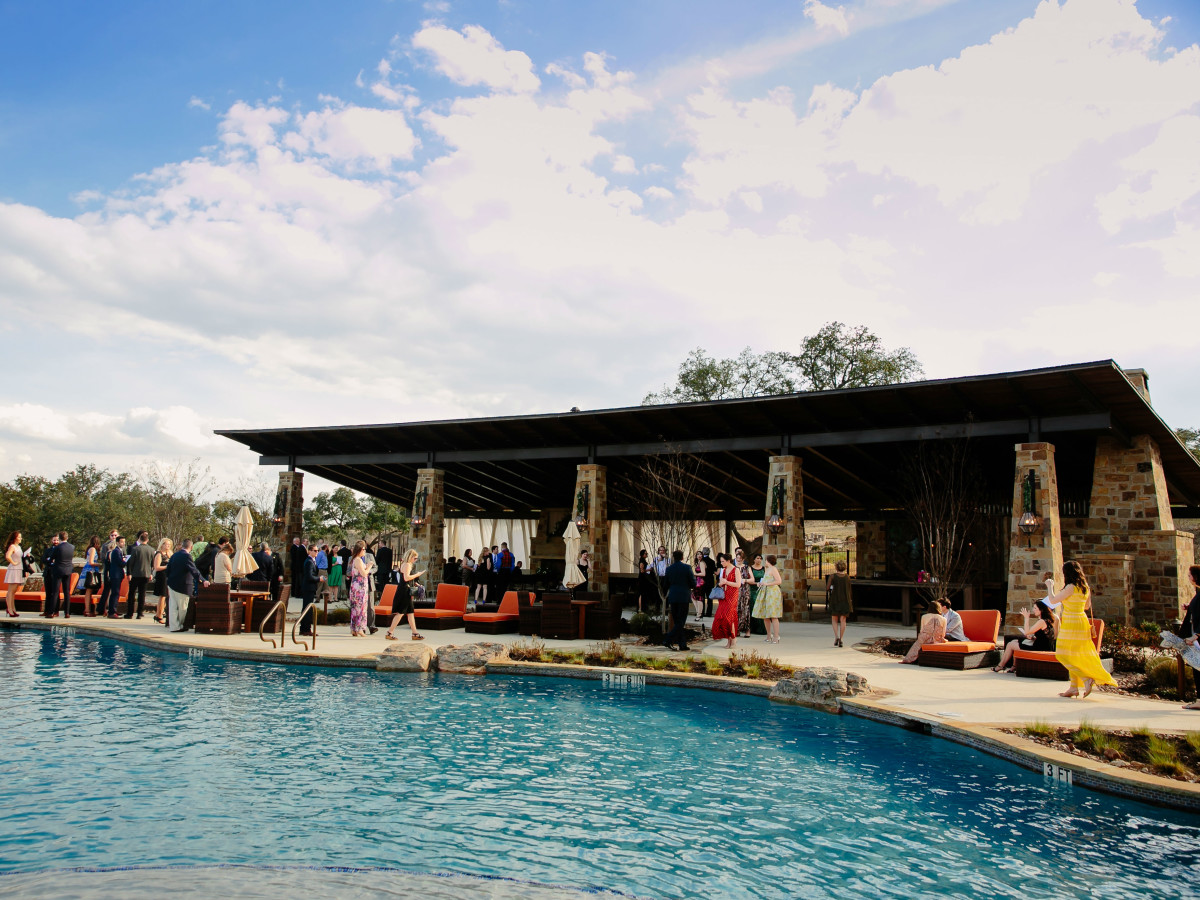 Wedding Maggie Bang and Austen Miller Fredericksburg Boot Ranch pool