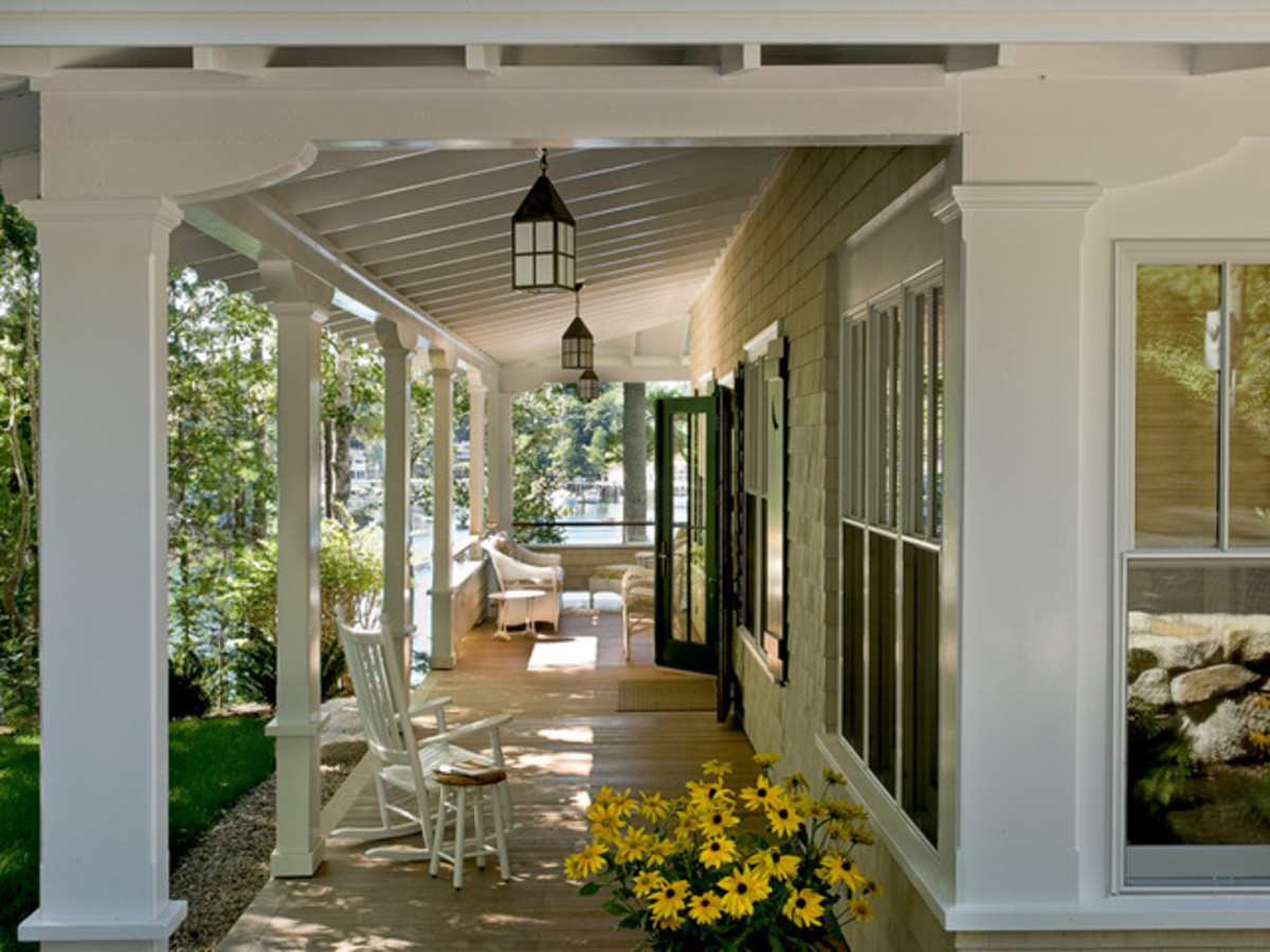 Farmhouse wraparound front porch from Houzz