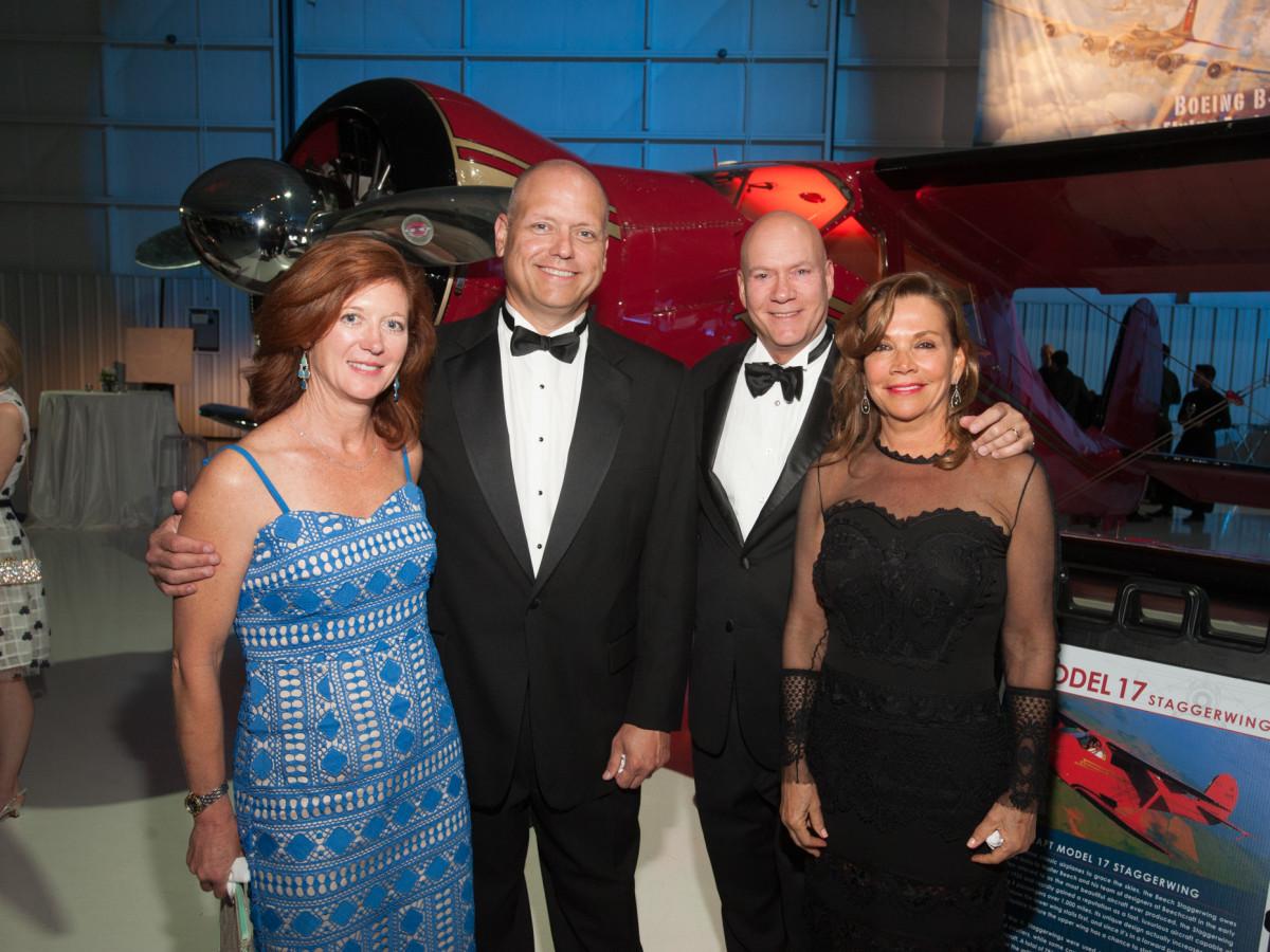Lone Star Flight Museum gala 5/16 Freya Shiller, Steve Shiller, Russell Thorstenberg, Carolyn Pardue