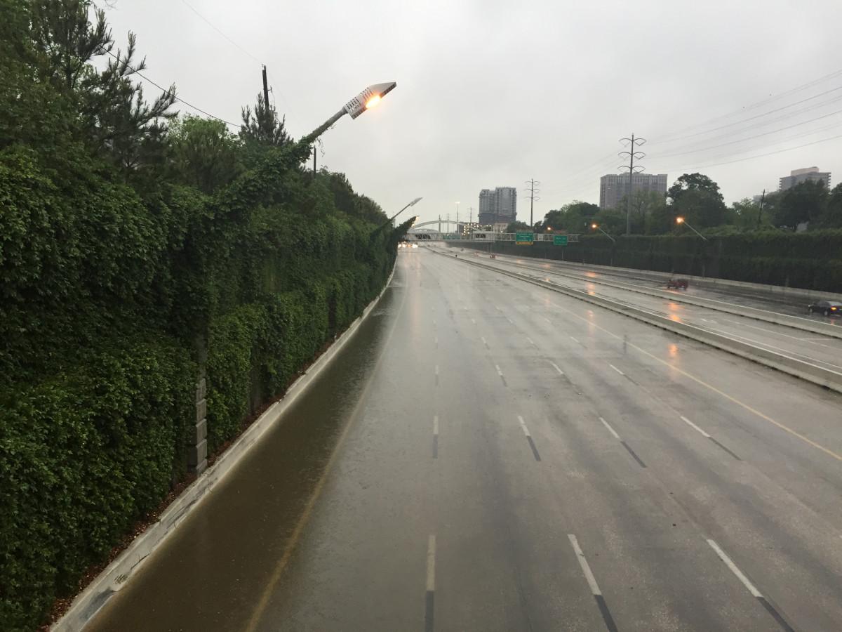 Flooded freeway