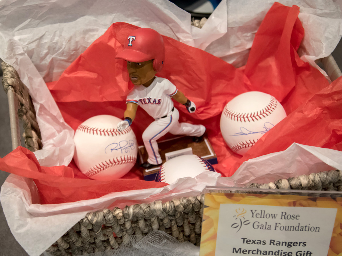 Sports memorabilia in the silent auction