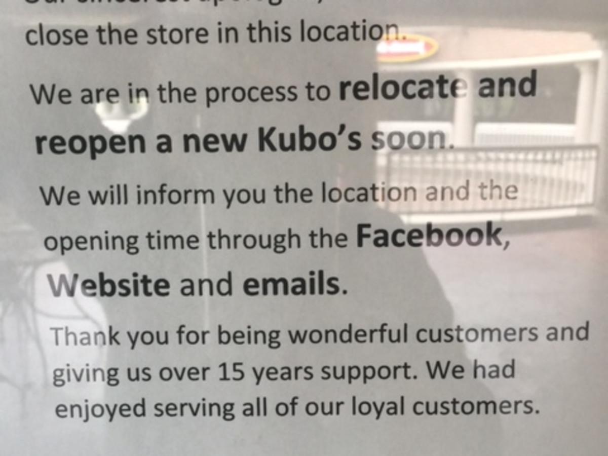 Kubo's sushi Rice Village closed sign