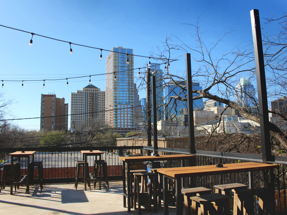 Lustre Pearl Rainey March 2016 upstairs outdoor patio downtown Austin skyline