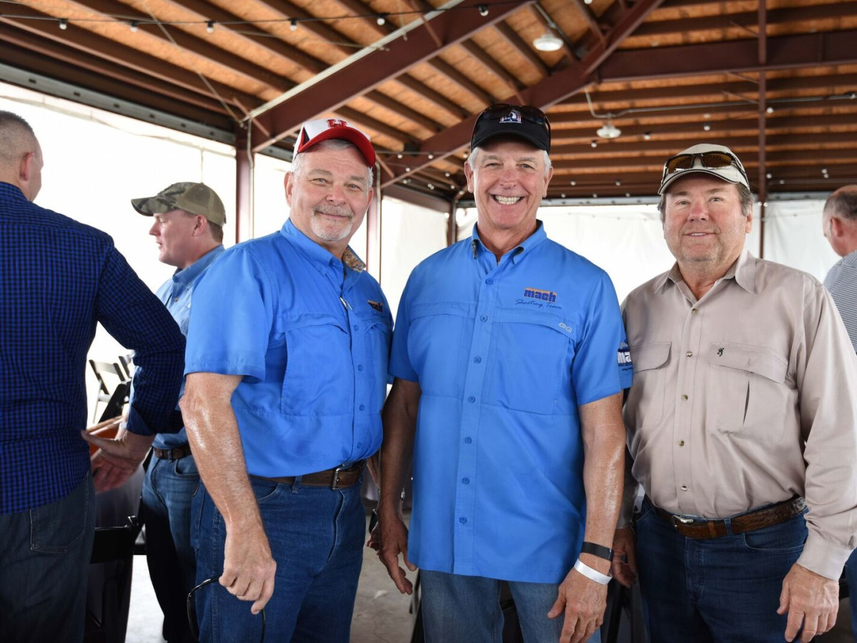 Tom Mach, Bob Greenberg, Randy Elkins at Memorial Hermann Clay Shoot