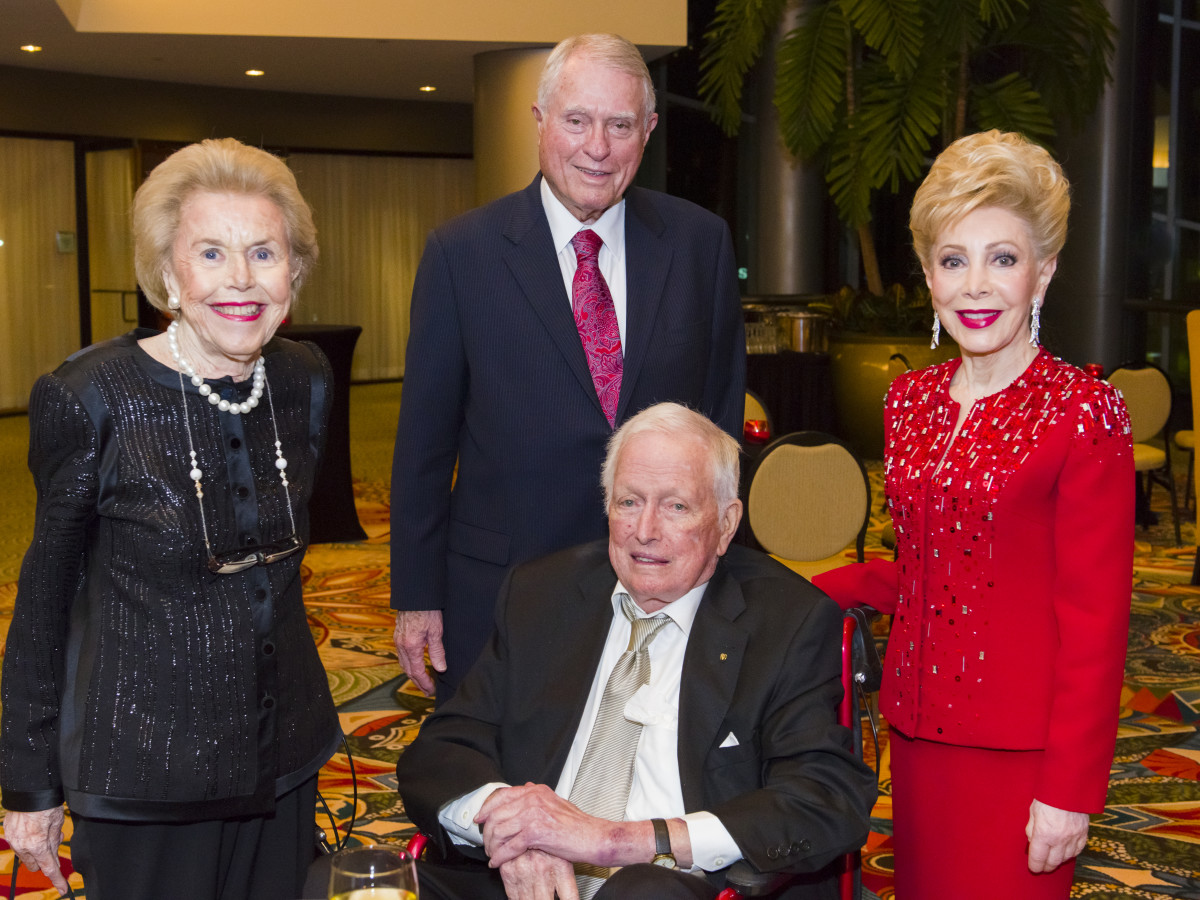 Texas Heart Institute dinner, Feb. 2016, Louise Cooley, Dr. Denton Cooley, Jim Daniels, Margaret Alkek Williams