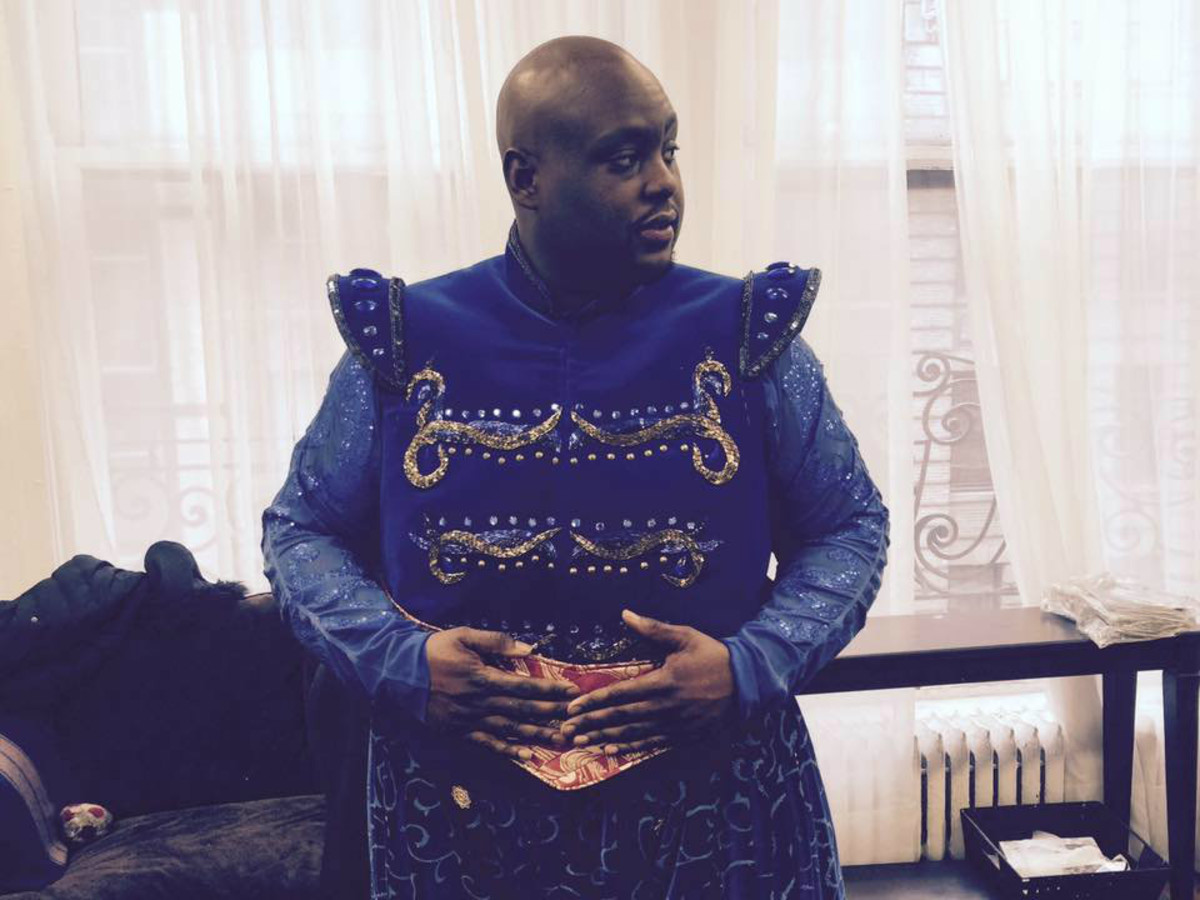 Major Attaway in costume for Aladdin on Broadway