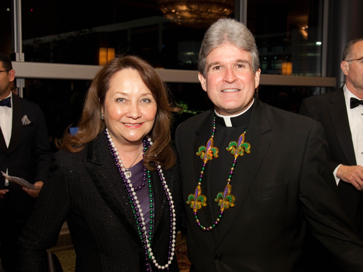 University of St. Thomas Mardi Gras, Feb. 2016, Cecilia Abbott, the Rev. Frank Rossi
