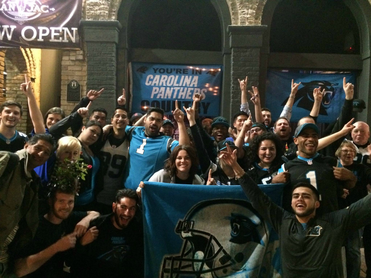 San Jac Saloon Carolina Panthers fans Dirty Sixth Street 2016