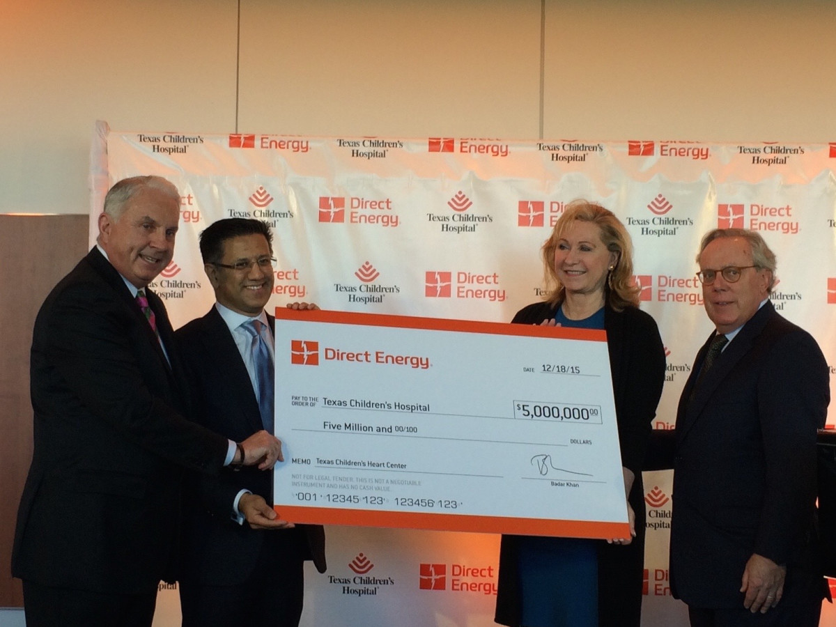 Direct Energy gift to Texas Children's Hospital, Mark Wallace,Badar Khan, Carol Linn, Michael Linn