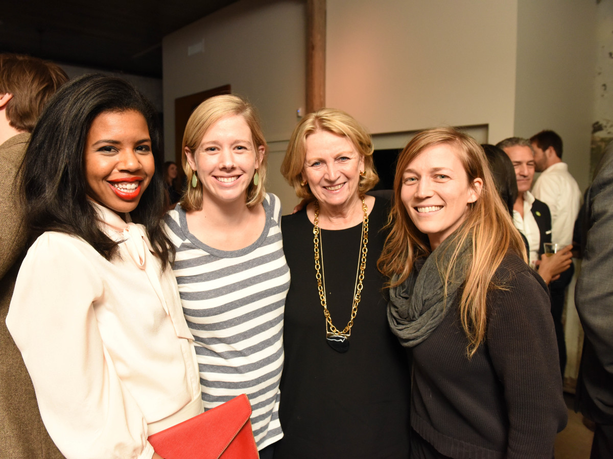 News, Pier & Beam party, Dec. 2015, Claire Cormier Thielke, Mary Senkel, Patricia Laurent, Melissa Eason.