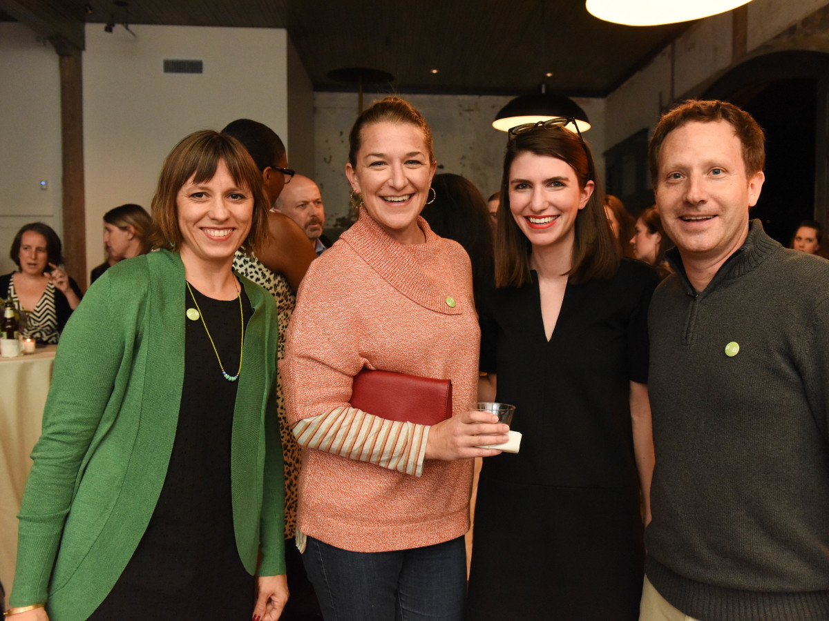 News, Pier & Beam party, Dec. 2015, Marisa Janusz, Rene Zamore, Elizabeth Marrin, Brett Zamore.