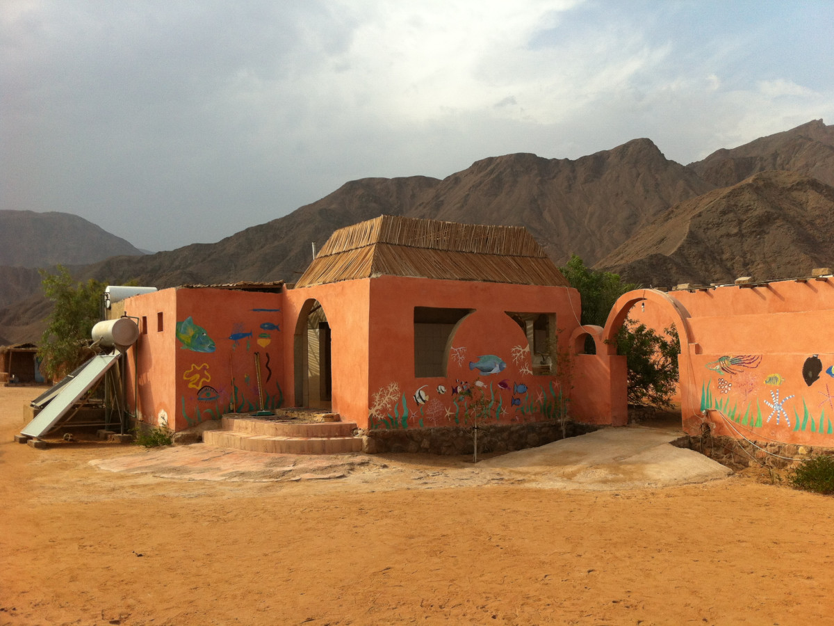 Ras Shitan Sinai Egypt Sawa Camp uses a solar water heater for its shower facility