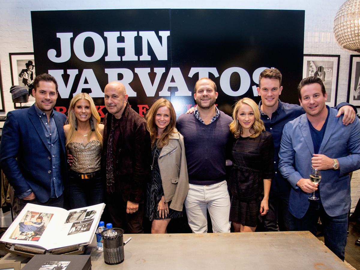 Jay Fields, Allie Fields, John Varvatos,Annie lee Phillips, Matthew Phillips, Erin Stewart, James Stewart and Michael Carroll at the John Varvatos book signing
