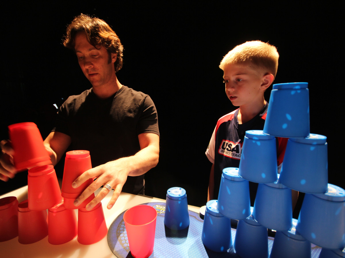 The Brain series David Eagleman cupstacking with under 10 world champion cupstacker Austin Naber