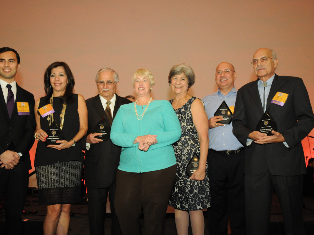 News, Shelby, Mayor's Hispanic Heritage Awards, Oct. 2015, James Lee, Gloria Zenteno, Jose Adan Trevino, Mayor Annise Parker,  Josefina Rendon, Gilbert Garcia, Daniel Bustamante