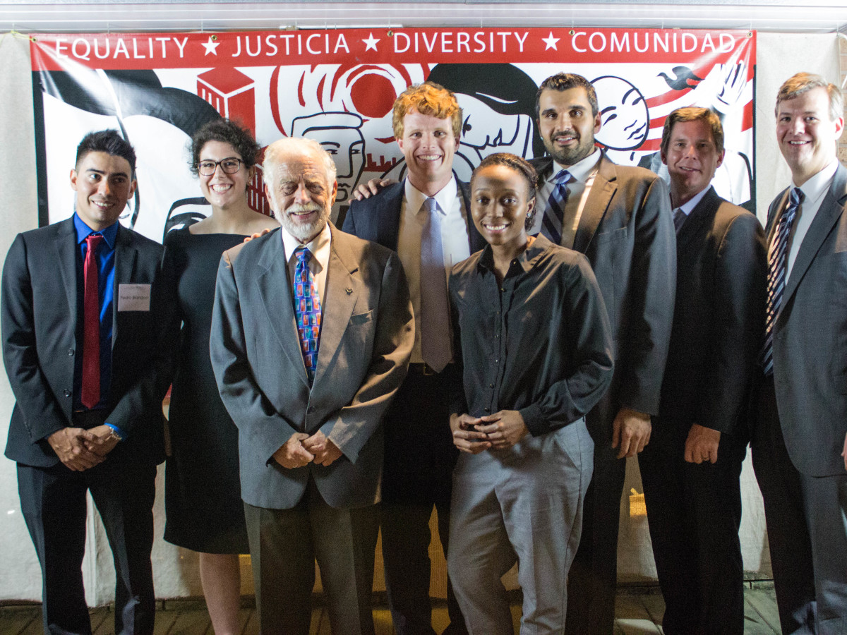 Texas Civil Rights Project fundraiser Pedro Blandon,   Wallis Nader,                 Jim Harrington,                Joe Kennedy III                Porscha Brown,  Amin Alehashem , Kyle Wright