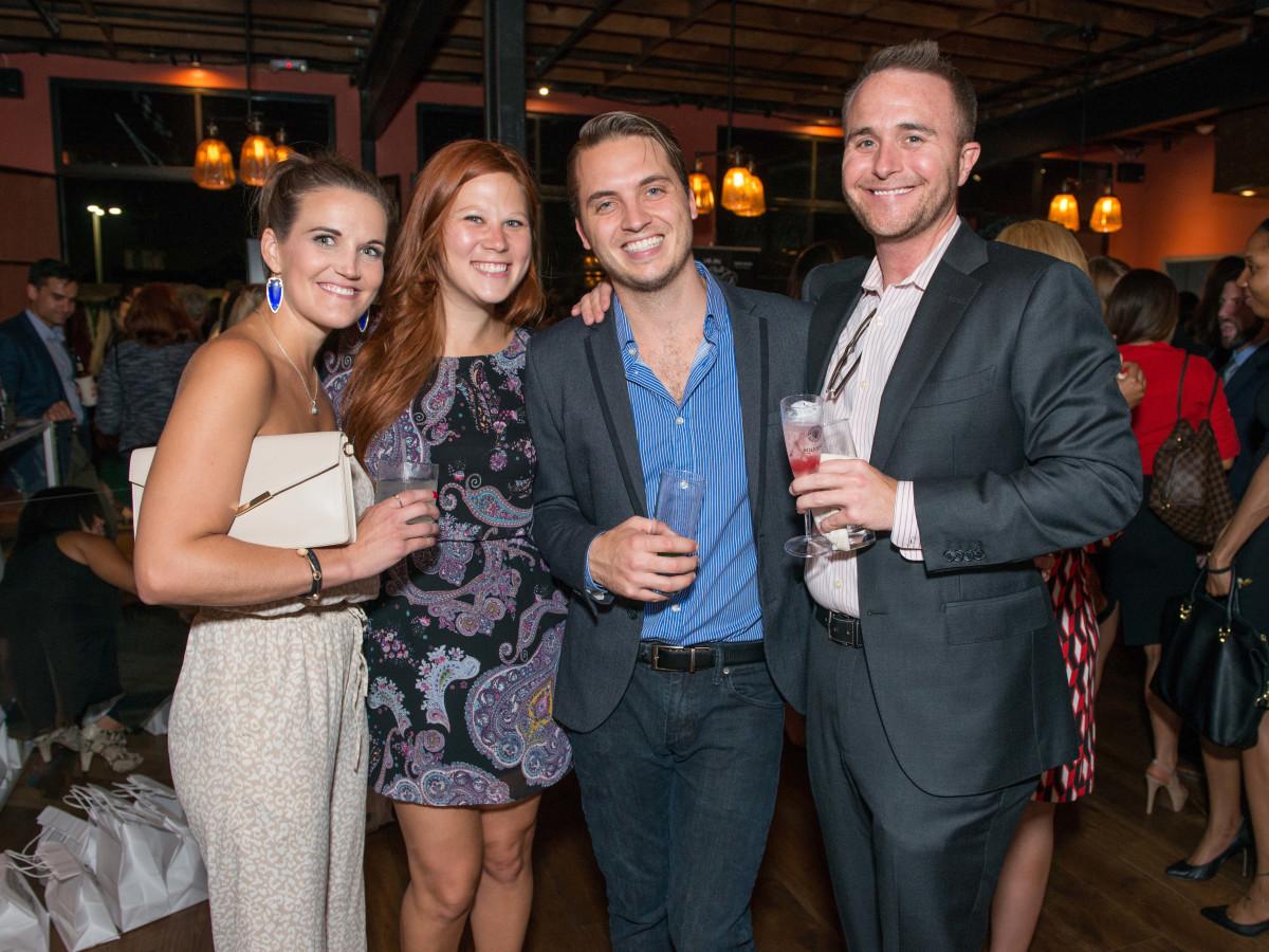 News, CultureMap Social, B&B Butchers, Sept. 2015 Brittany Jefferson, Amanda Moehnke, Cole Smith, Cooper Gouge