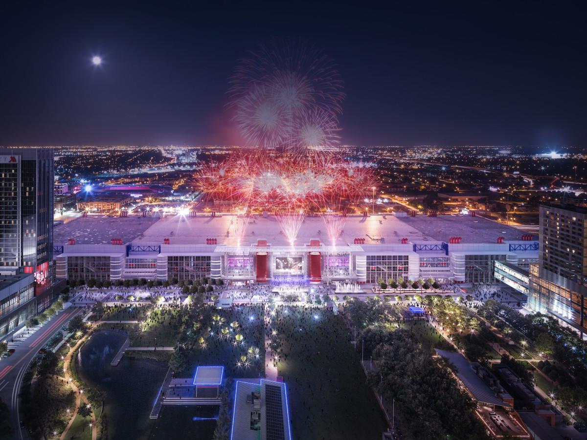 Houston, George R Brown revamp, September 2015, aerial view at night